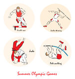 Illustration showing a Summer Olympic Sports. Set of a Illustration shows a Summer Olympic Sports. Steeplechase, javelin throwing, judo, high jump pole vault Royalty Free Stock Photos