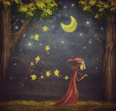 Illustration showing the wizard collecting stars Royalty Free Stock Photos