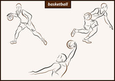 Illustration shows a Basketball. Set of a vector illustration shows a basketball player in the attack. Sport. Basketball royalty free illustration