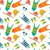 The illustration shows the beach accessories stock illustration