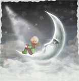 The illustration shows the boy who admires the star sky Royalty Free Stock Photos