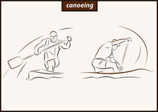 Illustration shows a Canoeing. Set of a vector illustration shows a athlete rowing paddle canoe. Sport. Canoeing vector illustration