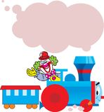 Funny train with clown. The illustration shows cartoon cheerful clown who goes in the locomotive. Illustration done on separate layers, there is a place for the Stock Photography