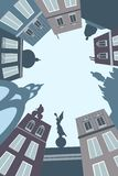 The illustration shows the city, buildings, architecture vector illustration