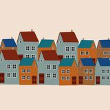 The illustration shows colored houses. Illustration - street, houses, windows. The illustration shows the old house. Panorama view old town. illustration of city stock illustration