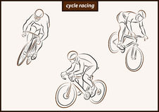 Illustration shows a Cycle racing. Set of a vector illustration shows a Cyclist in motion. Sport. Cycle racing royalty free illustration
