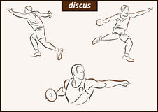 Illustration shows a Discus. Set of a vector illustration shows a athlete throwing disc. Sport. Discus Stock Photos