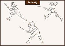 Illustration shows a Fencing. Set of a vector illustration shows a fencer in attack. Sport. Fencing stock illustration