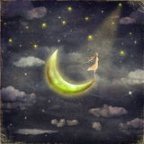 The illustration shows the girl who admires star sky royalty free illustration