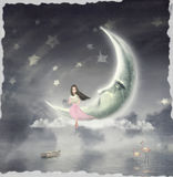The illustration shows the girl who admires the star sky Stock Images