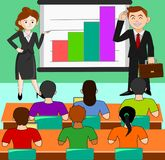 The illustration shows the knowledge of the business. There are many interested stock illustration