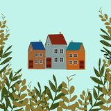 The illustration shows the old house. Panorama view old town. illustration of city landscape vector illustration