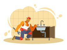 Colorful vector illustration of a male plumber vector illustration