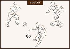 Illustration shows a Soccer. Set of a vector illustration shows a football player kicks the ball. Soccer royalty free illustration