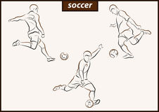 Illustration shows a Soccer. Set of a vector illustration shows a football player kicks the ball. Soccer vector illustration