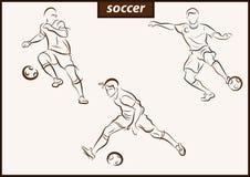 Illustration shows a Soccer. Set of a vector illustration shows a football player kicks the ball. Soccer stock illustration