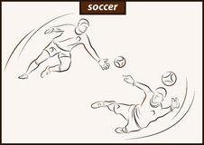 Illustration shows a Soccer. Set of a vector illustration shows a soccer goalkeeper jumping after the ball. Sport. Soccer stock illustration