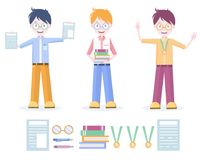 Vector set of characters and individual elements. The illustration shows successful and educated young people stock illustration