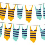 Colorful illustration with beach elements. swimsuits on the rope stock illustration