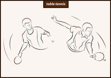 Illustration shows a Table tennis. Set of a vector illustration shows a tennis racquet hits the ball. Sport. Table tennis stock illustration