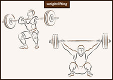 Illustration shows a Weightlifting. Set of a vector illustration shows a athlete raises the bar. Sport. Weightlifting stock illustration