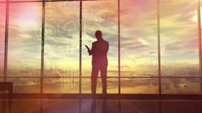 Improve the environmental situation, the silhouette of a man in the office. Illustration shows work on a consistent improvement of the global ecology. It is vector illustration