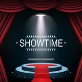 Showtime banner with podium and curtain illuminated by spotlights. Illustration of Showtime banner with podium and curtain illuminated by spotlights Stock Photography