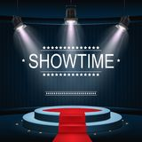 Showtime banner with podium and red carpet illuminated by spotlights. Illustration of Showtime banner with podium and red carpet illuminated by spotlights Royalty Free Stock Image