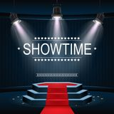 Showtime banner with podium and red carpet illuminated by spotlights. Illustration of Showtime banner with podium and red carpet illuminated by spotlights Stock Images