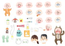 Illustration of a sick baby and baby supplies royalty free illustration