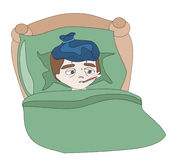 Illustration of a Sick boy lying in bed Royalty Free Stock Image
