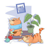 Illustration of Sick Cats Stock Photography