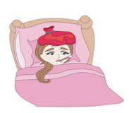 Illustration of a Sick Girl lying in bed Stock Images