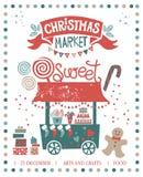 Christmas market illustration poster vector illustration