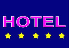 Illustration sign logo five star hotel on blue background. The 5 star hotel is a sign of luxury, better service and for guests of full-length hotels who can royalty free illustration