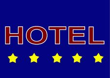 Illustration sign logo five star hotel on blue background. The 5 star hotel is a sign of luxury, better service and for guests of full-length hotels who can stock illustration