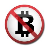 Illustration of a sign prohibiting a symbol of the bitcoin. Isolated Royalty Free Stock Images