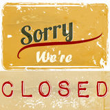 Illustration sign with signature we are closed for cafe and othe Royalty Free Stock Photos