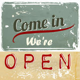 Illustration sign with signature we are open for cafe and other Royalty Free Stock Photo