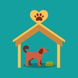 Illustration of a signboard beside a doghouse with Royalty Free Stock Photos