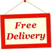 Signboard with free delivery text Stock Photo