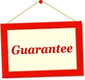 Signboard with guarantee text Stock Image