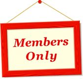 Signboard with members only text Royalty Free Stock Image