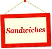 Signboard with sandwiches text. Illustration of signboard with sandwiches text Stock Photo