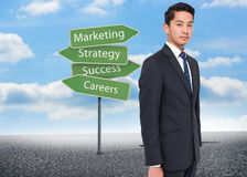 Illustration of signposts with marketing terms Stock Photo
