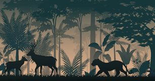 Silhouette animals activity in forest. Illustration of silhouette animals activity in forest vector illustration