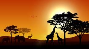 Silhouette animals on savannas in the afternoon. Illustration of silhouette animals on savannas in the afternoon royalty free illustration