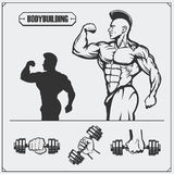 Illustration and silhouette of bodybuilder. Fitness emblem and design elements. Stock Image
