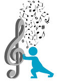 Illustration of a silhouette carrying a G clef Stock Image