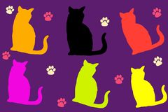 Illustration of silhouette colors cat with paw pattern on purple background royalty free stock images